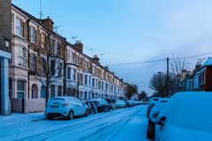 Winter sunrise in snowy suburb in London. UK Royalty Free Stock Images