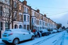 Winter sunrise in snowy suburb in London. UK Stock Photo
