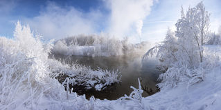 Winter lake. Everything covered with snow, frosty winter landscape Royalty Free Stock Image
