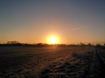 Winter sunrise. Sun rising in Yorkshire stock photo