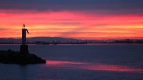 Winter Sunrise Tug and Barge, Fraser River stock video