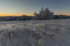 Winter sunrise. It was minus 11 degree outside, but very nic winter in mountains at Velka Javorina, White Carpathian royalty free stock image