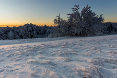 Winter sunrise. It was minus 11 degree outside, but very nic winter in mountains at Velka Javorina, White Carpathian stock images