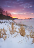 Winter sunrise at yorkshire reservoir Royalty Free Stock Images