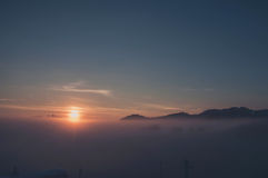 Winter sunrise over a mountain Royalty Free Stock Images