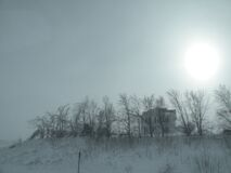 Winter Suns Barn House Royalty Free Stock Images