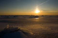 Winter sunset. Sunset at baltic sea in the winter Stock Photography