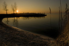Winter sunset. Sunset over over a dutch lake in the winter Royalty Free Stock Photography