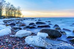 Winter sunset on the baltic sea Royalty Free Stock Photo