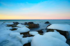 Winter sunset on the baltic sea Stock Photography