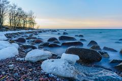 Winter sunset on the baltic sea Stock Image