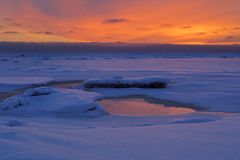 Winter sunset on Baltic sea Royalty Free Stock Photos