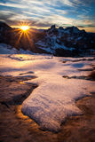 Winter sunset. Beautiful winter sunset in the mountains Royalty Free Stock Photography