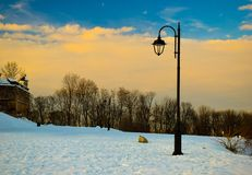 Winter sunset at Brasov. Hill Citadel. Lonely single pillar. royalty free stock photo