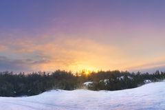 Winter sunset bright photo Royalty Free Stock Photo