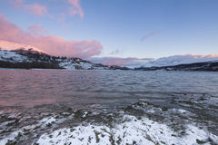 Winter sunset in the Campotosto lake Royalty Free Stock Photo
