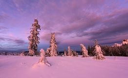 Winter Sunset at Crater Lake Stock Images