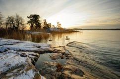 Winter sunset in Finland. Setting sun in winter (Turku, Finland Royalty Free Stock Image
