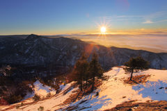 Winter sunset with forest in Slovakia Royalty Free Stock Photo