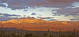 Winter Sunset on Four Peaks Royalty Free Stock Photography