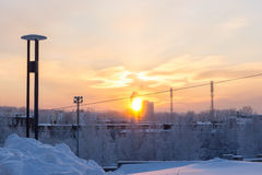 Winter sunset glow in city Royalty Free Stock Photo