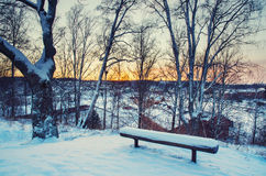 Winter sunset from hill Stock Photos