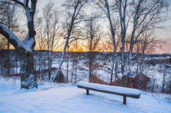 Winter sunset from hill Royalty Free Stock Images