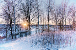 Winter sunset from hill Stock Photography