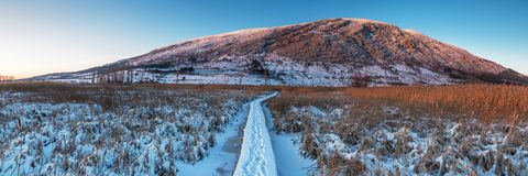 Free Winter Sunset In The Mountain. Panorama. Stock Image - 108713621