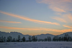 Winter sunset in the Isarwinkel Royalty Free Stock Photo