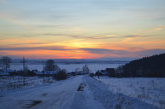 Winter Sunset on the Kama River Royalty Free Stock Photo