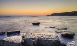 Winter sunset Kimmeridge Jurassic Coast. Royalty Free Stock Photography