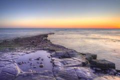 Winter sunset Kimmeridge Jurassic Coast. Royalty Free Stock Images