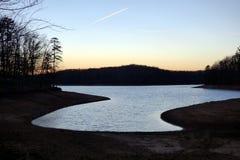 Liquid Silver Sunset on Lake Lanier stock photo