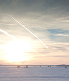 Winter Sunset on Lake Mendota Stock Photography