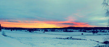 Winter sunset landscape Stock Images