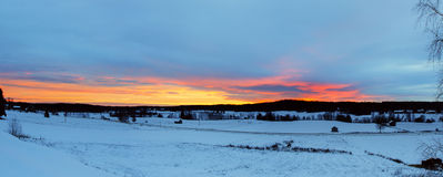 Winter sunset landscape Royalty Free Stock Photography