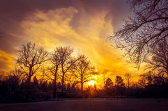 Winter sunset landskape Royalty Free Stock Photography