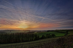 Winter Sunset in The Lincolnshire Wolds,UK Royalty Free Stock Photography