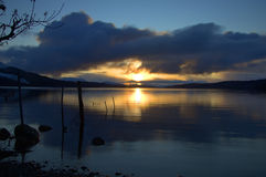 Winter Sunset On Loch Rannoch Stock Image