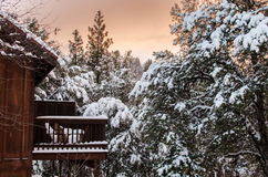 Winter sunset at the lodge. Cabin with patio looking out at sunset amongst pine trees covered in snow in the winter Stock Photo
