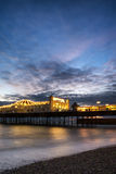 Winter sunset long exposure over Brighton pier. Stock Photos