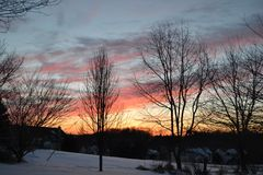 Winter Sunset. Lovely Winter Sunset Royalty Free Stock Photography