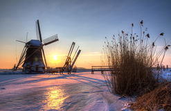 Winter sunset mill HDR Royalty Free Stock Photography
