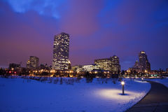 Winter sunset in Milwaukee. Wisconsin Stock Photography