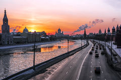 Winter sunset in Moscow, Russia Royalty Free Stock Image