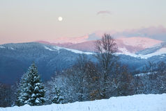 Winter sunset mountain landscape Royalty Free Stock Image