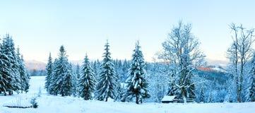Winter sunset mountain landscape Stock Photo