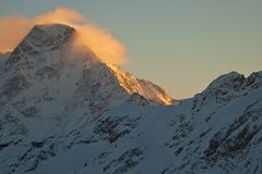 Winter sunset in the mountains Royalty Free Stock Photography