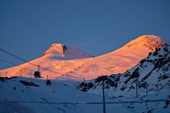 Winter sunset in the mountains Stock Images